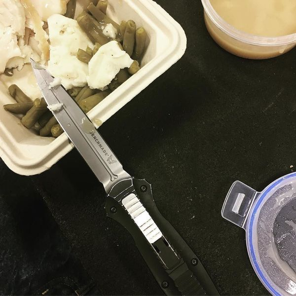 Benchmade - Forgot my damn #fork good thing I have my #benchmade #infidel #knife. #lunchtime #turkey #potatoes #greenbeens #gravy #thanks #mom! danitanixon
